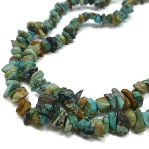 """Faux green & brown turquoise chip 32"""" Necklace"""